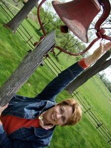 Jill Rings Ye Olde School Bell for Locally Toned
