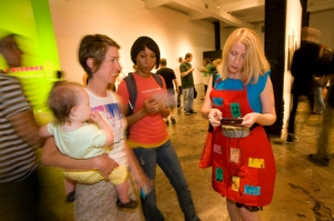 Inside SPACE gallery with assistant Brittany Kennedy, Coutney Erlichman & Talulah