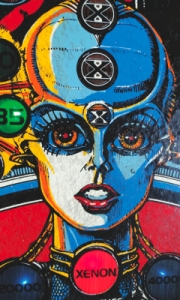 Can you see the little curly lines on this Xenon Pinball Art Card?