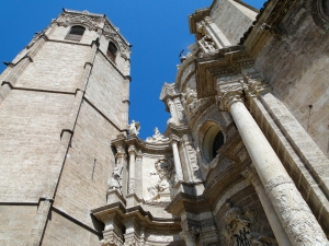 Looking up at the micalet (bell tower) of the cathedral in Valencia, Spain.