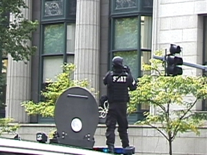 Still of the LRAD from the documentation shot by Carl Cimini.