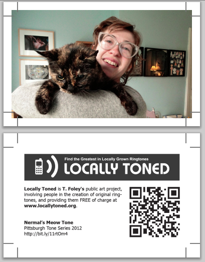 This art card features artist Casey Droge and her cat Nermal